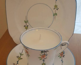 Teacup Candle - Vintage Phoenix China Cup, Saucer & Square Plate with a Pretty Floral Design and Lavender Scented Soy Wax. C. 1925-1959