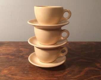 Vintage Restaurant Ware - Buffalo China - Adobe Tan -  Tea Cups and Saucers