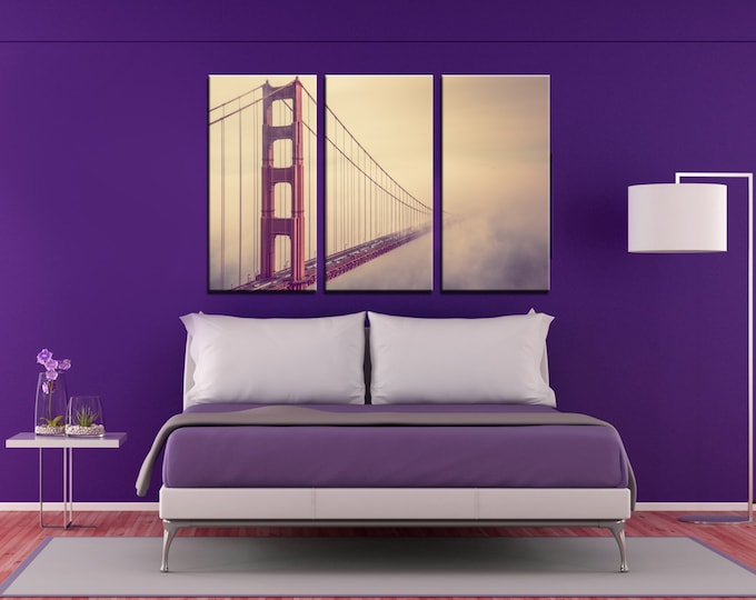 San Francisco Golden Gate Bridge Foggy Canvas Print Golden gate canvas multipanel canvas wall art san francisco wall art Foggy wall art