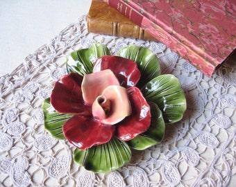 Old flower in slip / Rose ceramic / French majolica / handmade / eternal Fleur / Vintage french / home Decoration