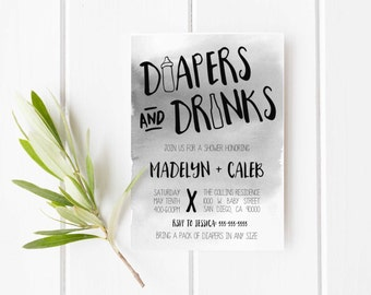 Diapers and Beer invitation, Couples Baby shower invitation,  Man shower, Baby shower for dad, invitation for dad baby shower, diaper shower