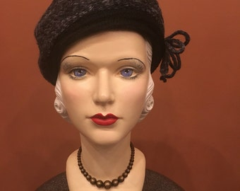 "Vintage 1960's ""Everett"" Ladies Asymmetrical Knitt Hat in Grey-Navy Tones"