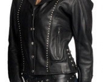 561.SD Ladies Studded Leather Jacket