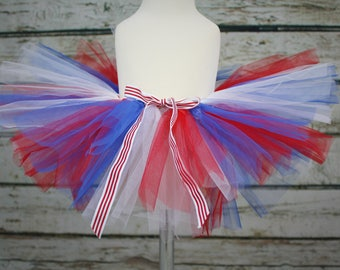 Super Full 4th July Red White Blue Patriotic Tulle Tutu Baby Girls Photo Prop Shoot Christmas Birthday Gift
