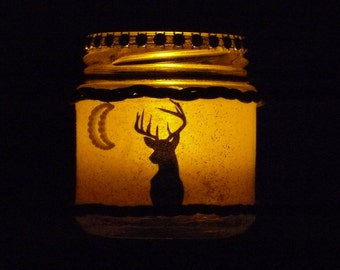 Stag candle lantern / Stag night light fairy jar. Deer candle jar.  Country cottage mothers day gift.