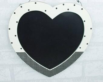 Heart Chalkboard Black & White Polka Dot Kitchen Wedding Memo Board F0613B