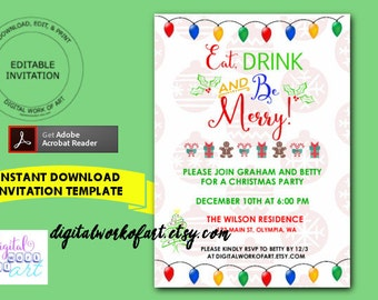eat drink and be merry invitation template diy holiday christmas party invite home office - Christmas Party Invitations Templates