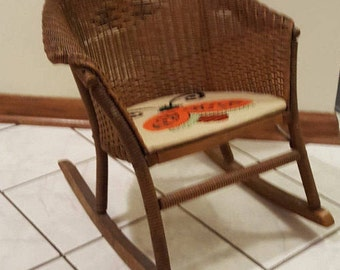 Wicker Rocker Rocking Chair Child's Antique Rattan Rocking Chair Vintage Child's Rocking Chair Kid's Wicker Rocker