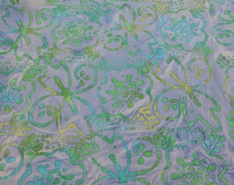 Blue and Green Batik Cotton Fabric