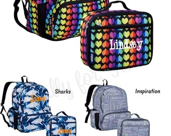Rainbow Hearts Personalized Backpack and Lunch Box Back to School Rainbow Backpack
