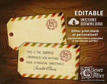 Letter from santa claus official santas letter from the santa gift tag official gift tag from santa personalized hang tag authentic delivery tag editable printable spiritdancerdesigns Gallery
