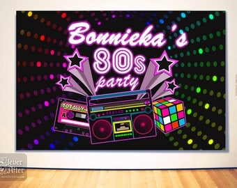80s party backdrop 80's birthday background 1980 theme buffet dessert table poster mood setter 1980's neon eighties photobooth printable