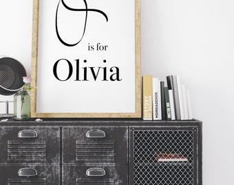 Olivia, Calligraphy Print, modern calligraphy, Typography Print, Baby Boy Print, Typography Wall Art, Monogram Print, O Letter print