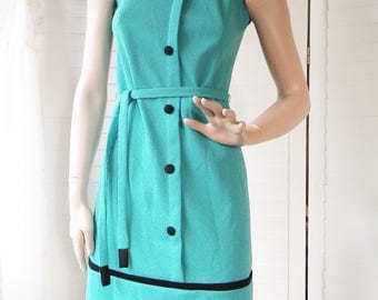 1960s blue mod mini dress