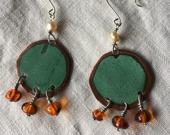 Salvaged Copper Freshwater Pearl & Baltic Amber on Sterling Silver findings