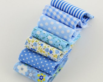 """NEW Precut JELLY ROLL 7 Pieces 1.96"""" x 3.93""""  Quilt Blanket Baby Kid Girl Boy Blue Dot Floral White Cotton"""