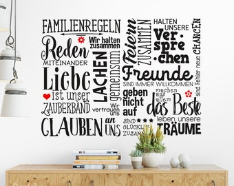 Wall decals family rules saying family home love living room wall stickers wall stickers mural wall decoration sticker decal ws17q1