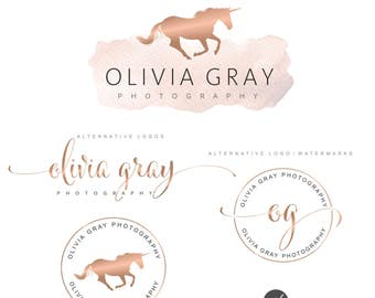 Unicorn Logo Design, Rose gold Branding kit, Photography logo, Watermark, Premade Branding Package, Custom Logo Design, Branding kit 103