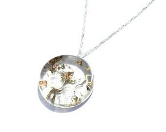 Dandelion pendant, real dandelion, resin dandelion,  resin jewelry, mothers day gift