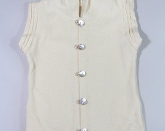 Toddler Girls Hooded Organic Cotton Vest with Mother Pearl Buttons Beach Cover up 4/5