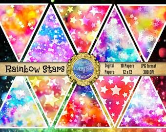 Rainbow Stars Digital Paper, rainbow stars background, galaxy paper, rainbow digital, star digital, starry sky digital, commercial use