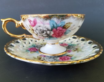 Vintage Lusterware ~ Footed Tea Cup and Reticulated Saucer ~ Japanese Porcelain ~ Pierced ~ Floral
