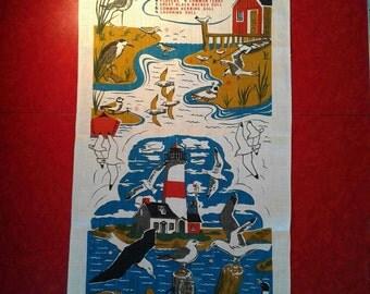Vintage Linen Tea Towel, Sea Shore, Beach Theme, Bird Lover, Ornithologist, Shore Birds, Gull, Light House