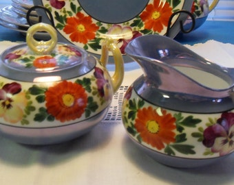 Blue Luster Creamer and Covered Sugar Bowl Vintage Moschendorf Bavaria Porcelain Pansy and Daisy