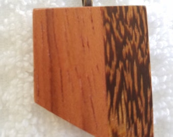 Exotic Marble Wood and Brazilian Cherry Chevron Pendant