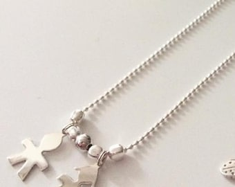 """925 Silver beads chain necklace with cross pendant """"Bimbo"""" and """"girl"""" in Silver 925"""