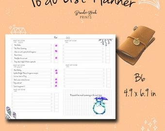 To Do List, B6 Insert, B6 Notebook, B6 Fauxdori, B6 TN, B6 Midori, Chicsparrow insert, Travelers Notebook, PDF
