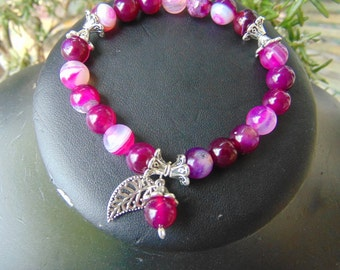 stretch, bracelet, pink agate, with, charms