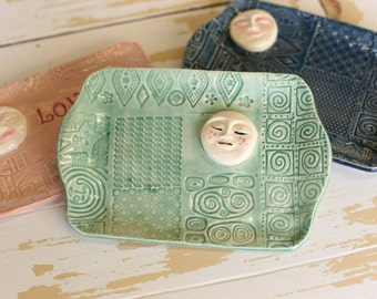 Pottery Love Moon Tray/Handmade Trinket Dish/Full Moon Tray/Moon Jewelry Tray/Boho Small Dish/Mint Pottery Moon Tray/Small Pottery Moon Dish