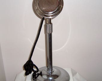 1940s Art Deco Chrome Dynamic Meico Microphone and Stand Used in Dance Halls & Radio Stations. Made in England. For Display only.