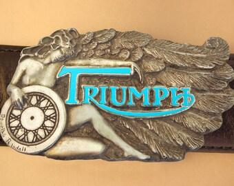 SILVER MOTORCYCEL BUCKEL.  Trimumph belt buckle