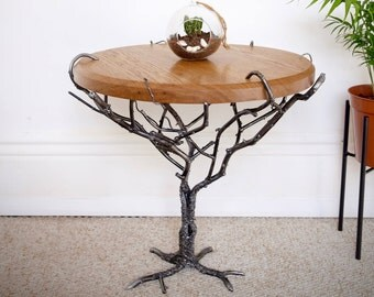 Industrial Coffee Table with Solid Oak Top and Steel Tree Base - Handmade, Industrial Chic, Unique Art Piece