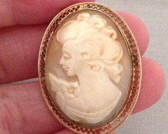 Antique Cameo Brooch Pendant, Vintage Gold Filled Shell Cameo Pin Brooch Pendant 1/20-12K