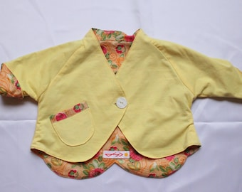 """Made in France. Lined vest girl. """"Yellow flowers"""". 12/16 months. Unique piece"""