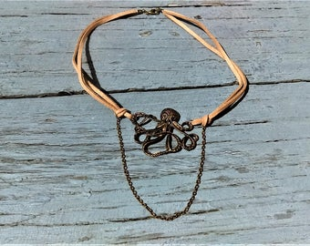Suede Choker with Octopus Charm
