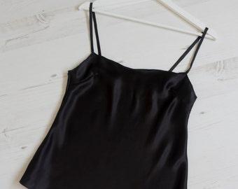 Black Silk Camisole, Silk Loungewear, Silk Lingerie, Pure Silk, Silk Pyjamas, Honeymoon Lingerie, Black Silk Vest, Silk Top, Black Pyjamas