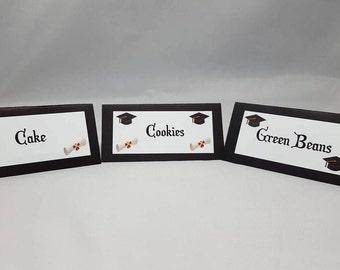 Graduation Place Cards - Graduation Food Cards - Graduation Decor - Place Cards - Folded Place Cards - Graduation - Set of 12