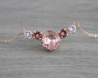 Rose gold necklace, Crystal Bridal necklace, Bridal jewelry, Bridesmaid necklace, Swarovski necklace, Blush crystal necklace Wedding jewelry