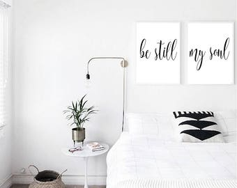 PRINT SET, Be Still, My Soul, Love Quote, Scandinavian Print, Bedroom Wall Art, Inspirational Quote, Modern Minimalist, Typography Print