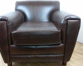 Dark Mahogany Leather French Club Chair