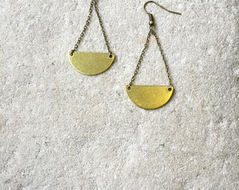 Half Moon Earrings, Dangle earrings, Half Moon, Crescent Moon, Geometric earrings