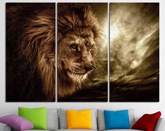 Large Lion Canvas Lion Print Multi Panel Lion Wall Art Lion Art Wild Cat Poster Lion Wall Decor Lion Photo Lion Poster