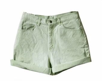 Light Green Wash High Waisted Shorts