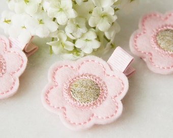Felt Flower Hair Clip | Pink Flower Hair Clip | Felt Hair Clip | Baby Girl Hair Clip | Toddler Hair Clip | Toddler Flower Clip | Handmade