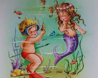 Vintage 1960's German Pretty Mermaid Postcard  Interior Design BoutiqueByDanielle