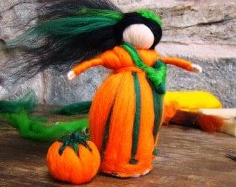 Pumpkin pixie Needle felted pumpkin Halloween Flamina doll Waldorf felt fall girl fall nature table Waldorf Autumn fairy, elf kendal fairies